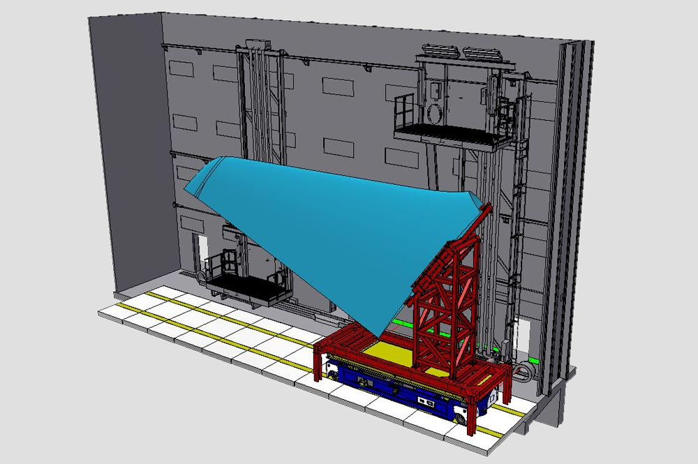 Drawing of Automated Guided Vehicle with the wing of an aircraft in a paint booth
