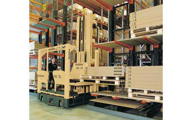 HUBTEX MK Order Picker Warehousing and Order Picking of Doors and Frames in Pallet Racks