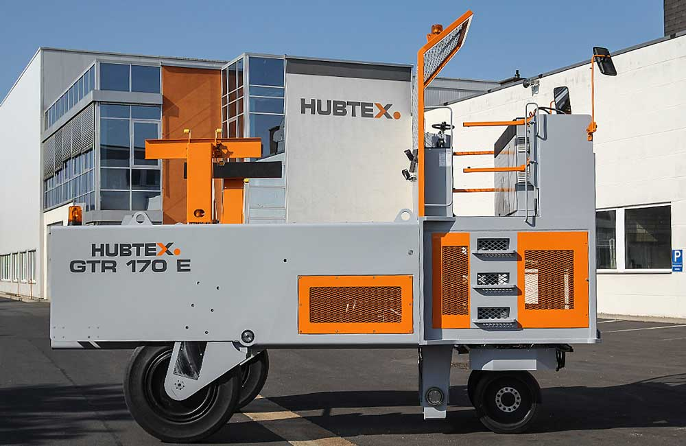 Hubtex Customized Glass Frame Transporter outside Hubtex factory