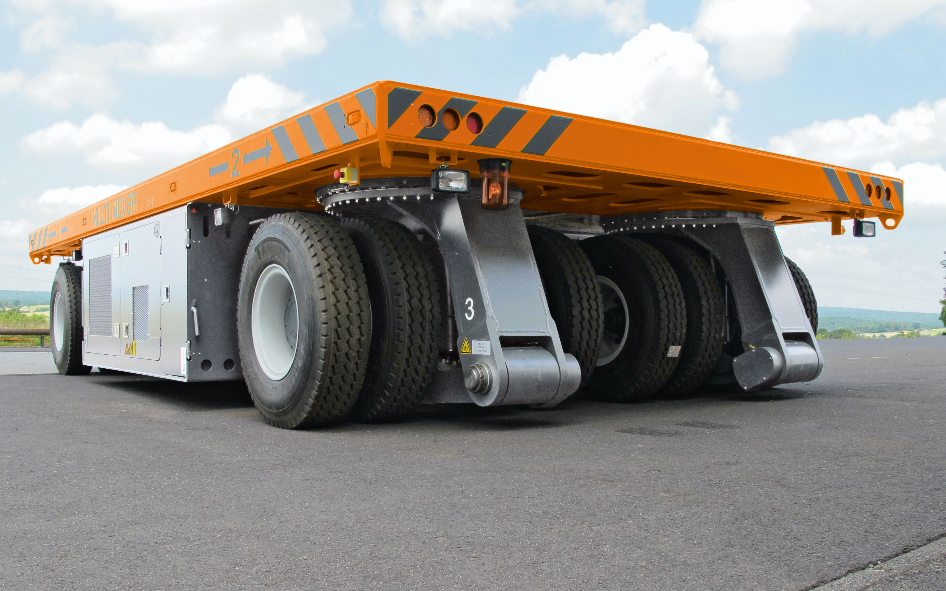 Hubtex Platform truck is maneuverable and self propelled for in plant transport of heavy loads