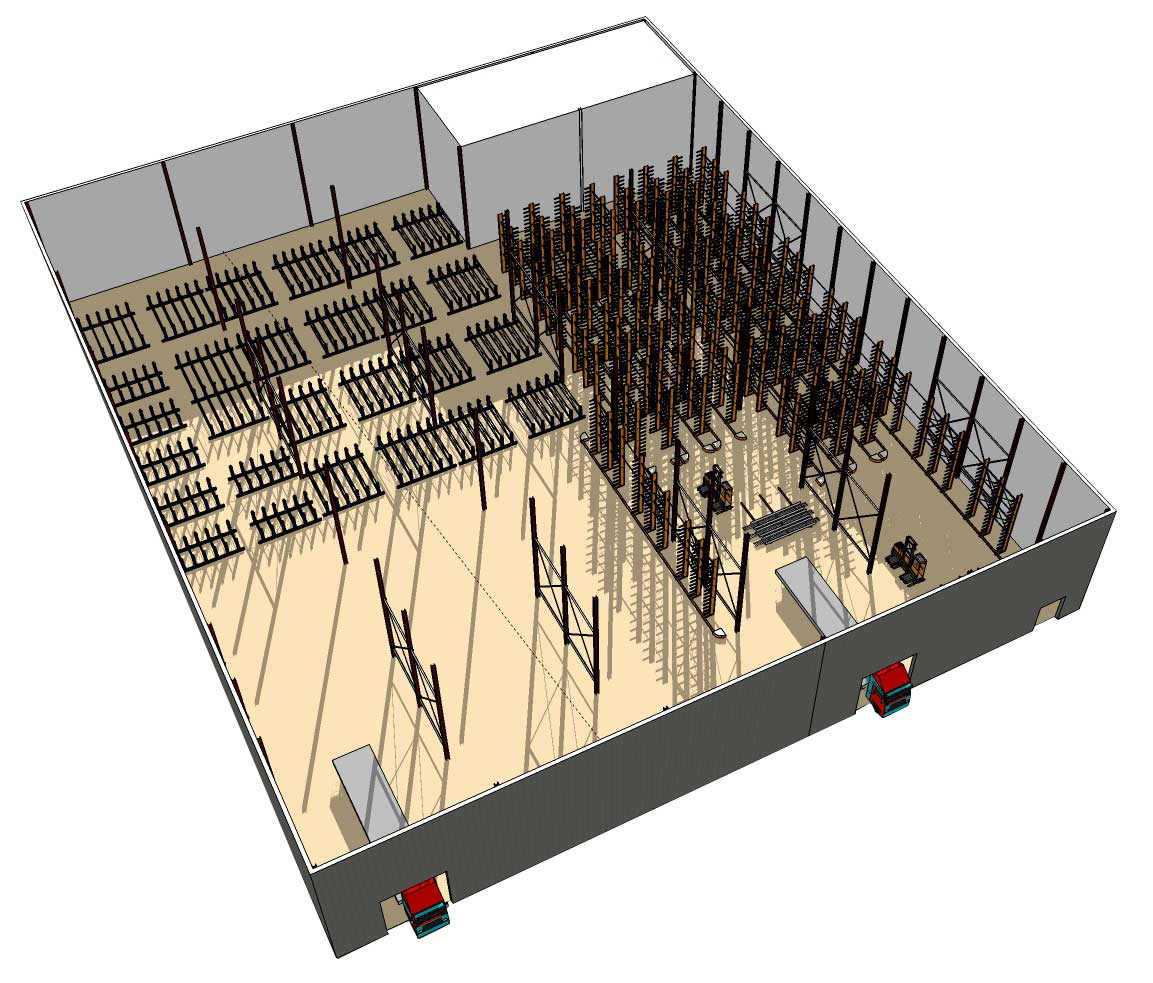CAD drawing of warehouse racking system plan